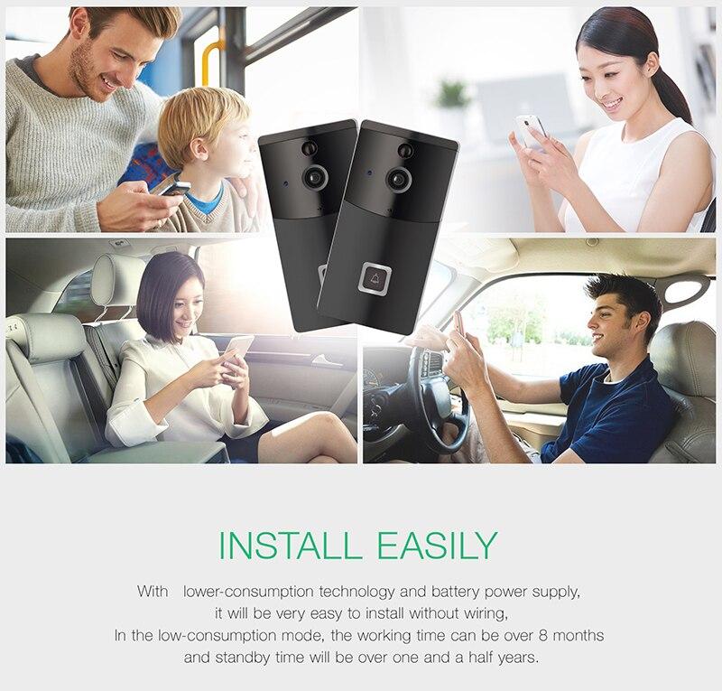 720P Video Intercom Doorbell IP Camera WIFI Door Bell Camera Outdoor Two-way Audio Battery Operation Wifi Doorbell +Indoor Chime