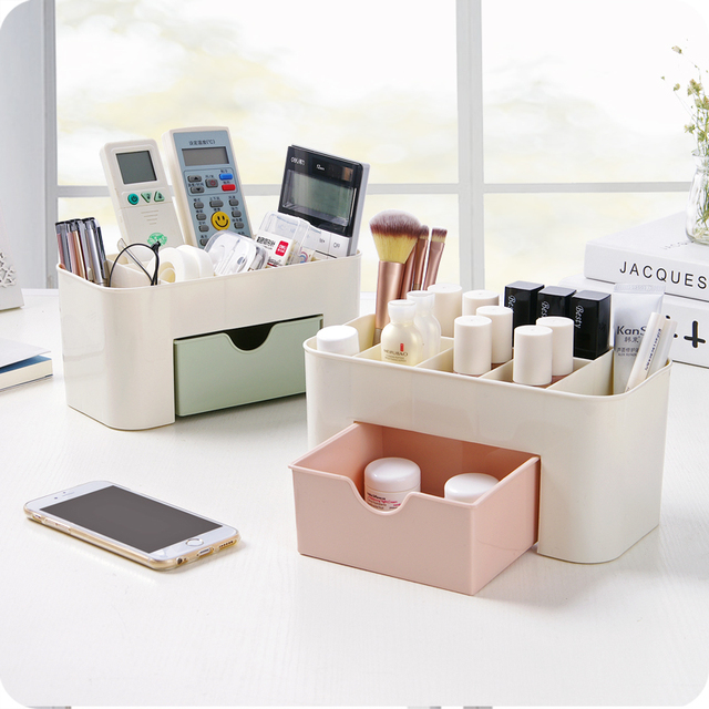 High Quality Plastic Storage Box Jewelry Makeup Organizer Candy Color Office Sundries  Cosmetic Drawer Container Storage Organizer