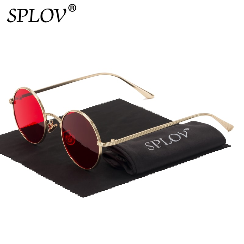 SPLOV Sunglasses Women Metal-Frame Punk-Style Round Retro Colorful Vintage Men Fashion