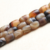 Natural Light Coffee Silk Matte Crystal Agat e Barrel Oval Loose Beads 10*14mm 12*16mm 13*18mm Size for Making Jewelry Bead