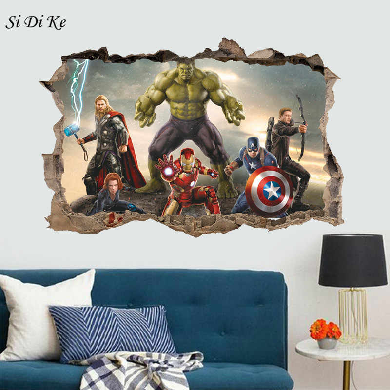 3D America Captain Wall Stickers Marvel Character 3d Stickers Creative Breaks The Wall Decor for Kids Room