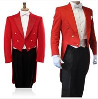 Custom Made To Measure Red Tailcoat Men Black Pants White Vest,Bespoke Red Long Tail Tuxedo Tail Coat,Tailor Red Tuxedo Tailcoat