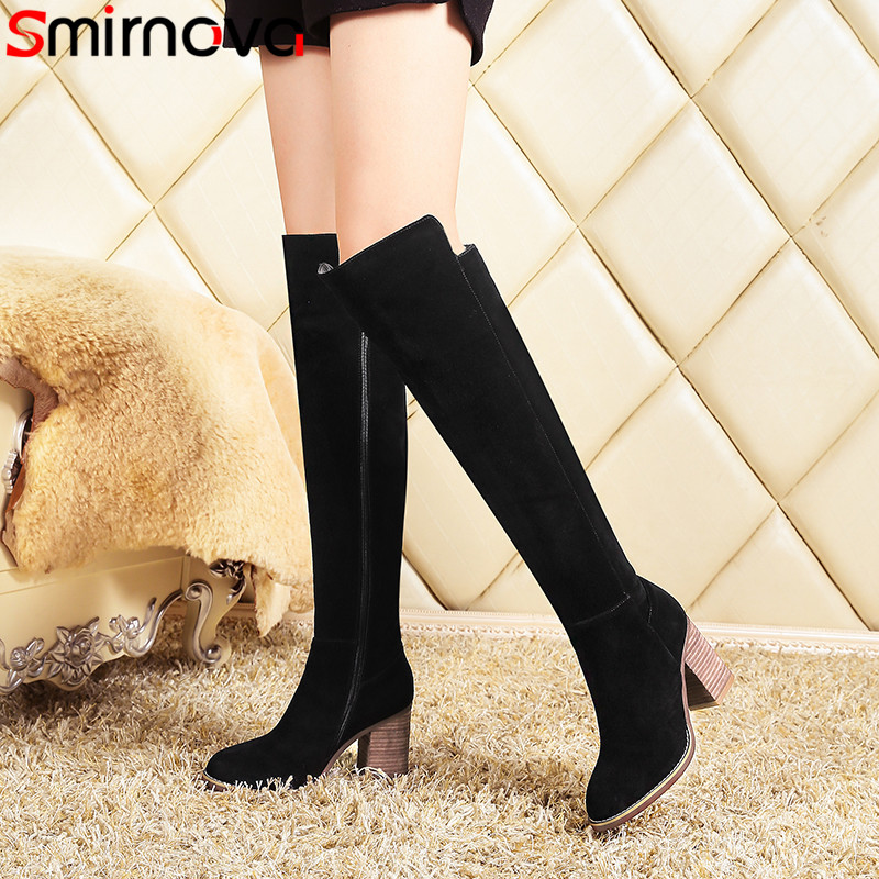 Smirnova 2018 fashion autumn winter knee high boots women round toe thick high heels boots prom ladies suede leather boots asumer 2018 fashion autumn winter boots zip round toe suede leather knee high boots women thick high heels boots ladies shoes