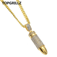 TOPGRILLZ Super Cool Stainless Steel Crystal Gold Color Plated Bullet Pendants Men Women Hip Hop Rock Pendant Necklace