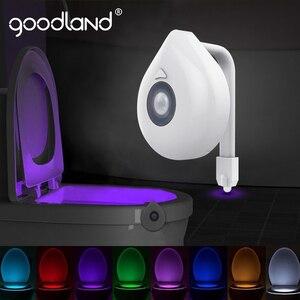 Image 1 - Goodland LED tuvalet aydınlatması PIR hareket sensörü gece lambası 8 renkler arka işık WC tuvalet kase koltuk banyo gece lambası çocuklar için