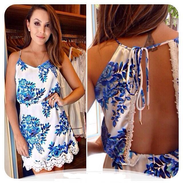 66a0f70d5766 Women s Summer Mini Lace Back Open Spaghetti Dress Evening Blue White  Floral Print Beach Sundress Dresses