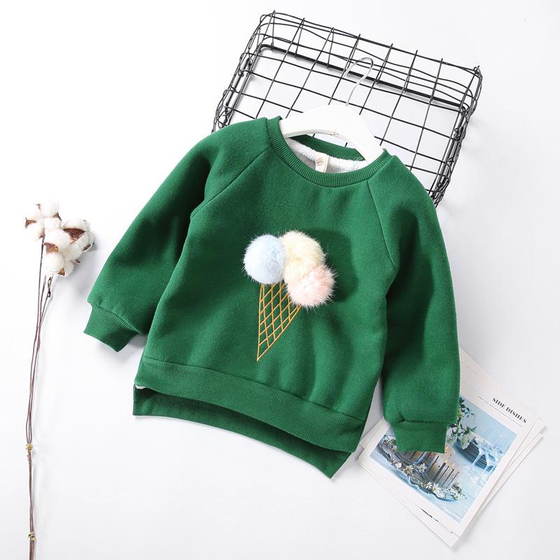 Cute Ball Ice Cream Girls Sweatshirt Autumn Winter Thick Warm Kids Sweatshirts for Girl O-neck Long Sleeve Children Top Clothing 2