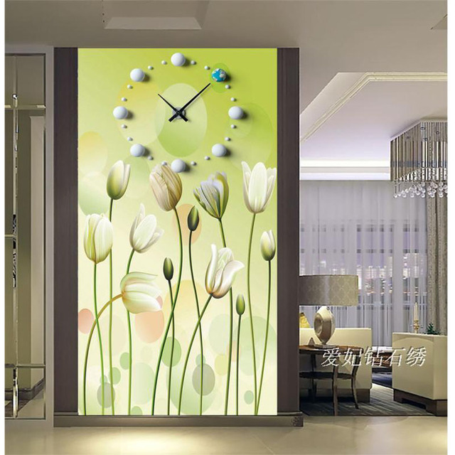 Diy Diamond Painting Cross Stitch Flower Clock Square Rhinestone ...