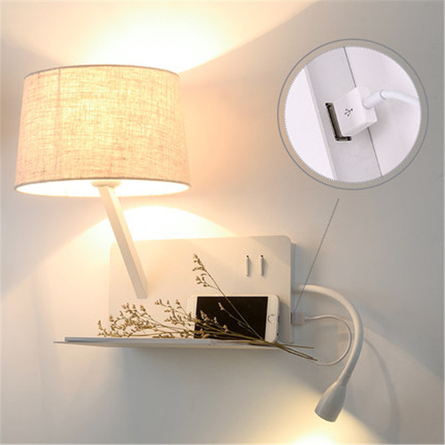 Simple Style With USB Switch Modern LED Wall Light Fixtures Bedside Wall Lamp Fabric Shade Iron Wall Sconce Indoor Lighting