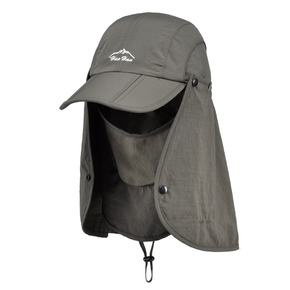 ed61b7238b0 UV 50+ Protection Flap Hat Neck Protection Cap with Removable Sun Shield  and Mask for Fishing Hiking Garden Activities-in Holidays Costumes from  Novelty ...