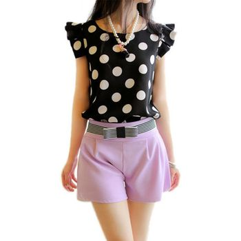 Polka Dot Casual Tee Shirt Blusas Ruffled Shirt Tops Slim Fit