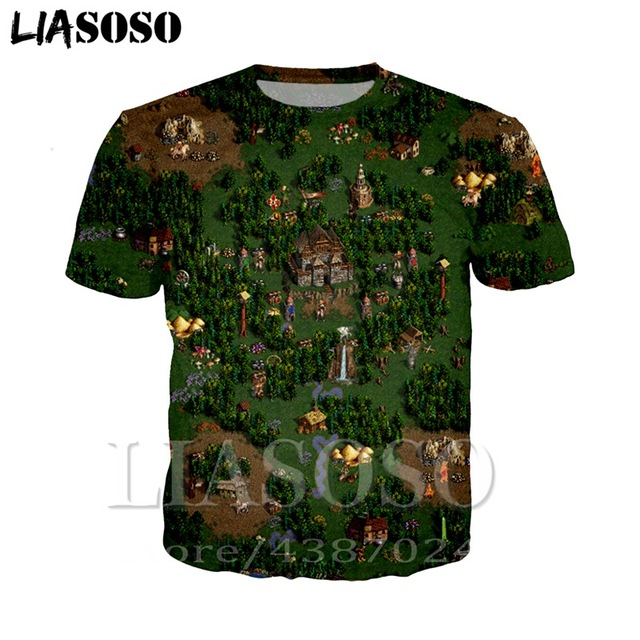 LIASOSO Anime 3d print t shirt Men Women Heroes rock of Might & Magic top Harajuku hip hop game t-shirt shirts homme tshirt E420