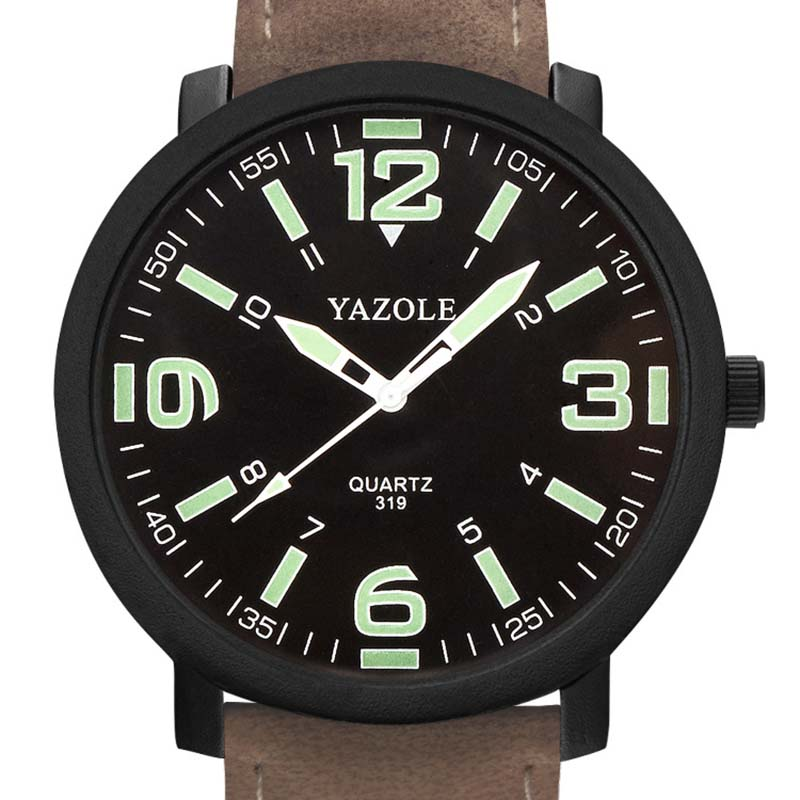 New Luxury Men\'s Watches Luminous PU Leather Men Military Quartz Army Wrist Watch Glow In Dark Hands Sport Watches JL
