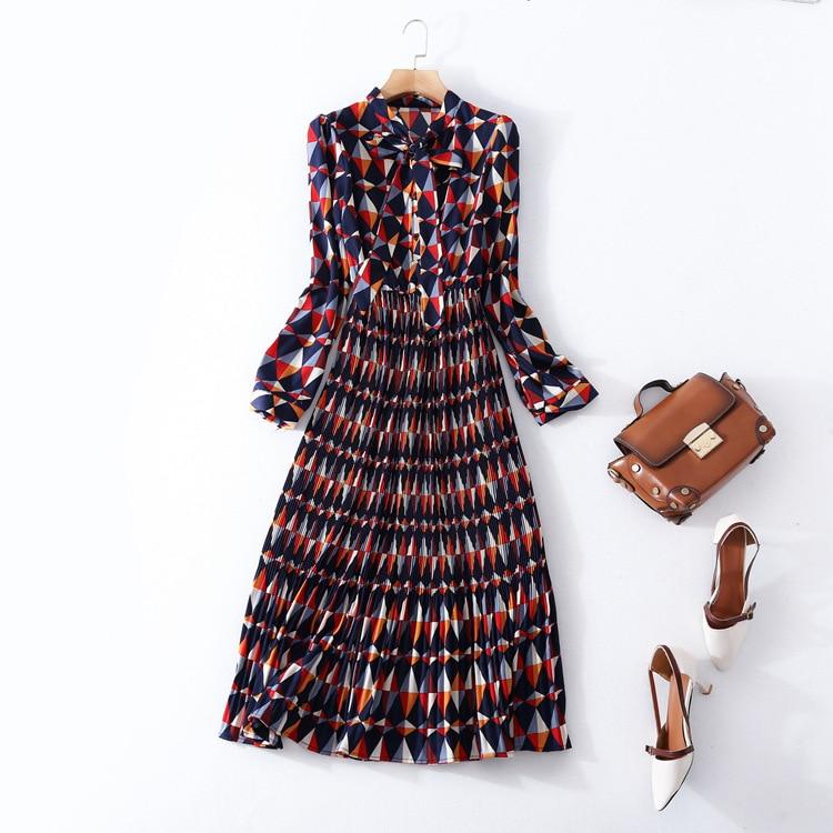 Высококачественное Плиссированное Платье с принтом для работы, новое Брендовое подиумное женское весенне летнее платье, модное офисное женское платье трапециевидной формы с длинным рукавом
