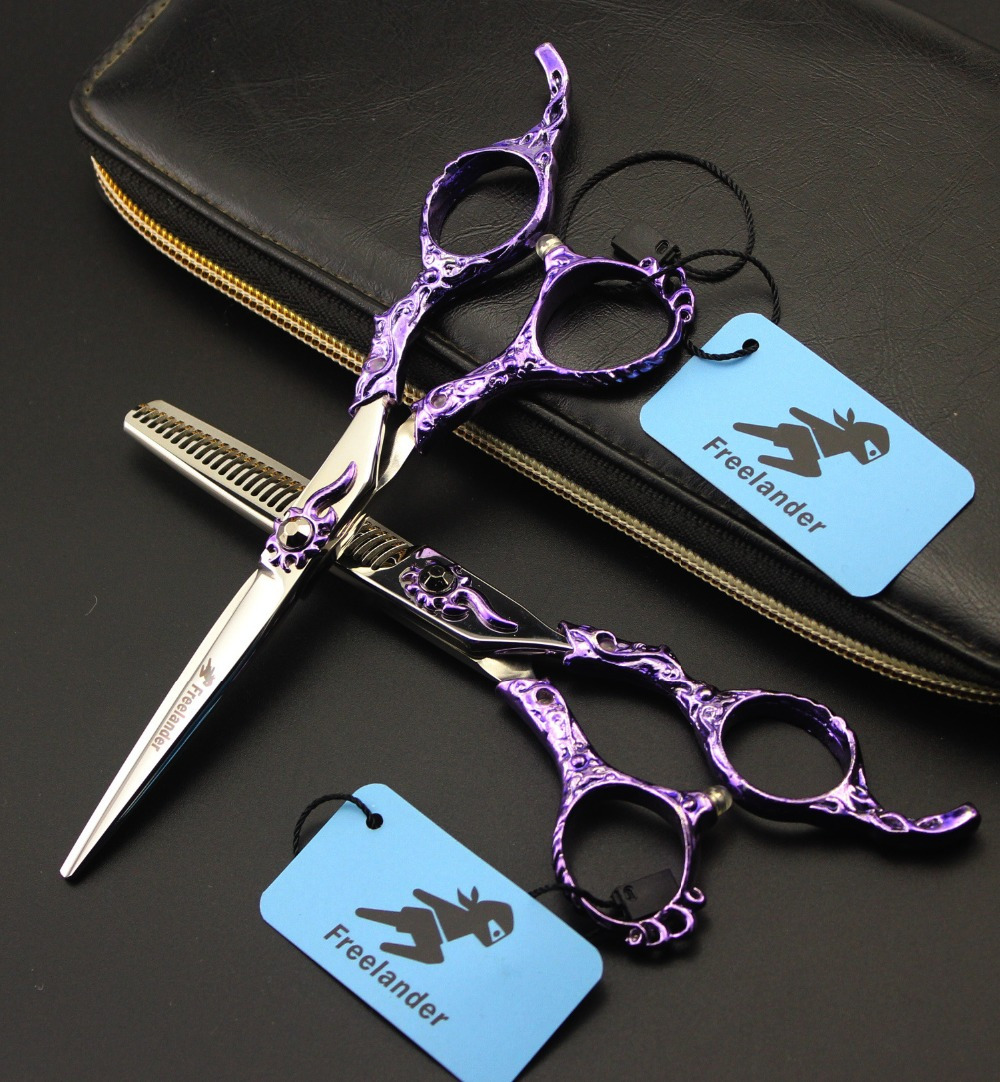 6INCH Beautiful Hairdressing Scissors Hair Cutting and Thinning Scissors Barber Shears  Special  handle beautiful darkness