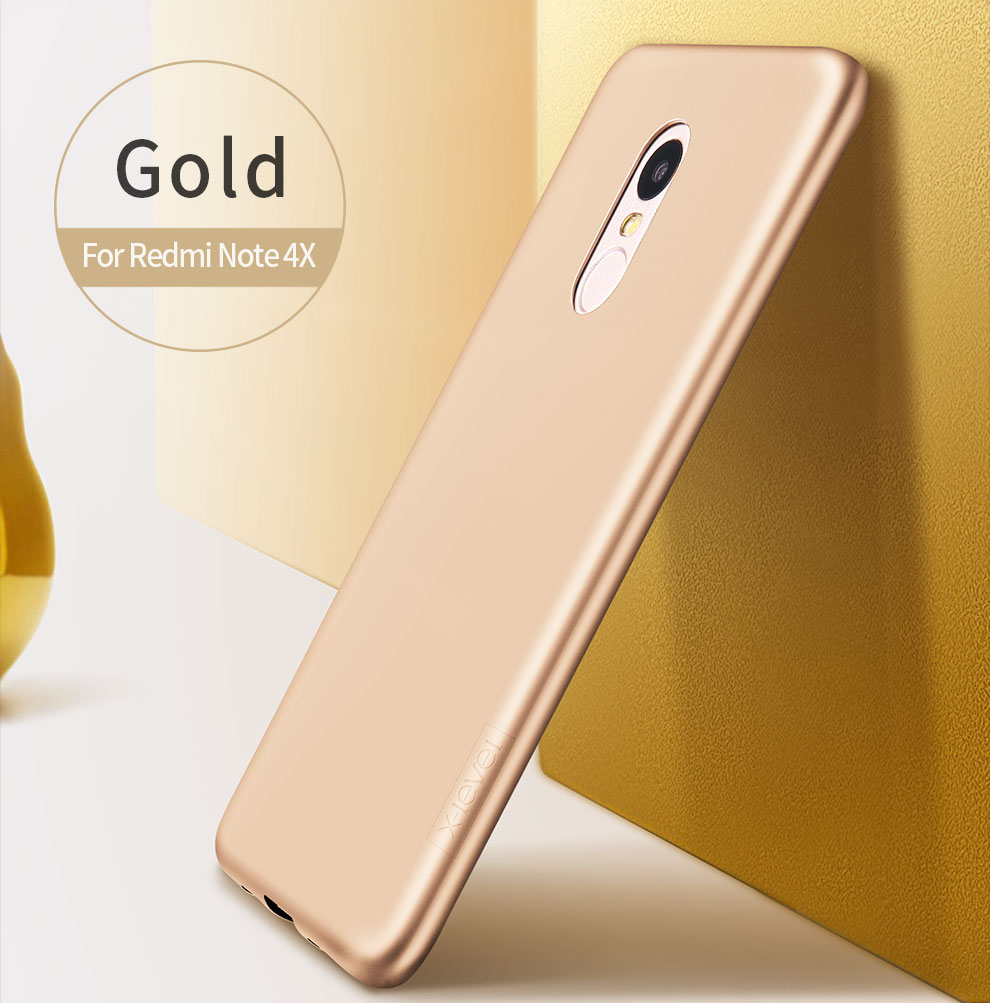 X Level Guardian Soft Matte Tpu Case For Xiaomi Redmi Note 4x Scrub Gold Back Cover Frosted