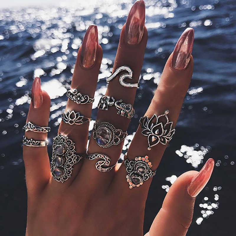 Bohemian Zilveren Opengewerkte Lotus Wave Olifant Blad Kroon Crystal Joint Ringen Vrouwelijke Charm Wedding Party Ornament Dame Ring Set