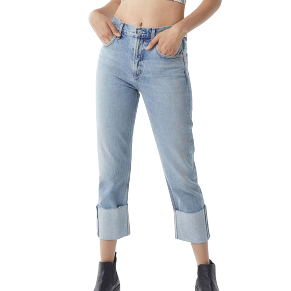 Classic Solid Wide Leg Women Jeans Zipper Fly Straight Slim Jeans Mujer Casual Panelled Denim Jeans Loose Plus Size Ladies Jeans