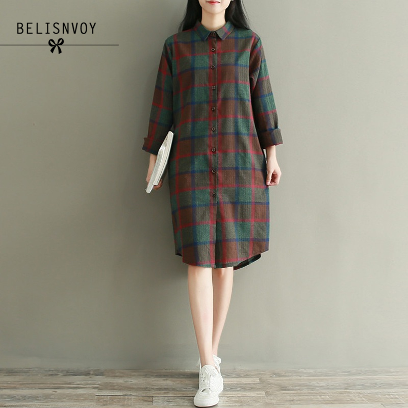 US $17.48 32% OFF|2019 Autumn Plus Size Long Sleeve Shirt Dress Women  Cotton Blue Red Plaid Casual Loose Pleated Vintage Dress Robe Femme  Vestidos-in ...