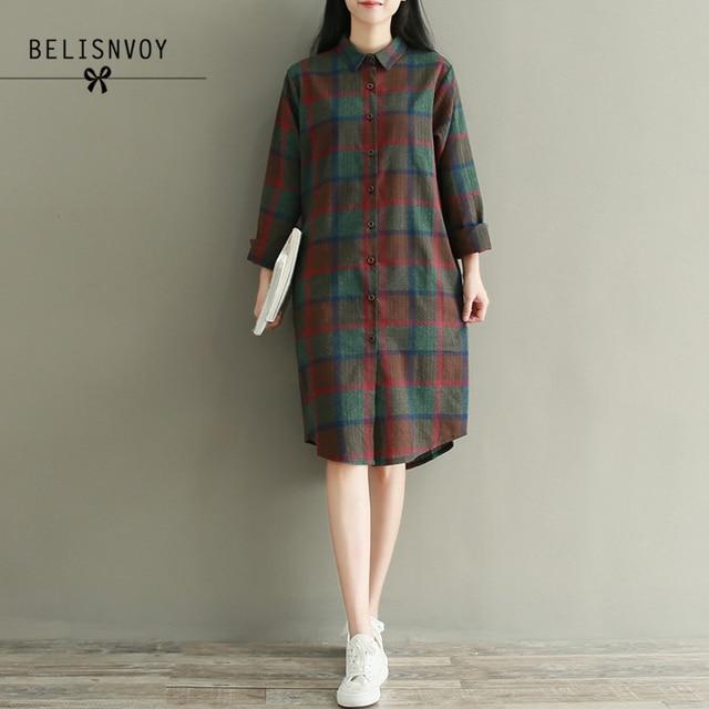 US $17.48 32% OFF Aliexpress.com : Buy 2019 Autumn Plus Size Long Sleeve  Shirt Dress Women Cotton Blue Red Plaid Casual Loose Pleated Vintage Dress  ...