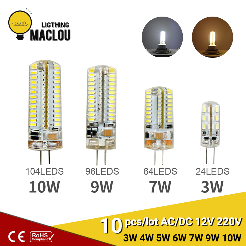 10pcs G4 LED AC DC 12V 220V 3w Lampada LED Lamp Light G4 Bulb Ampoule LED G4 Spotlight Halogen Lamp For Home Decoration Lighting