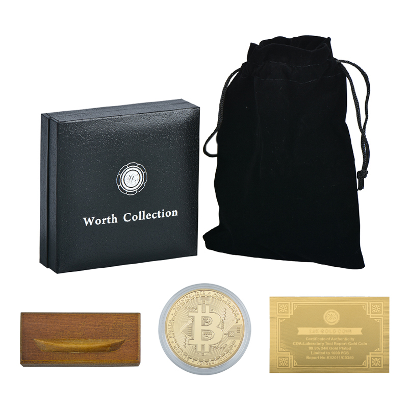 WR Gold Bitcoin Bit Coin with Quality Gift Box Wooden Base Replica Metal Coin Collectibles Commemorative Crypto Currency Coin