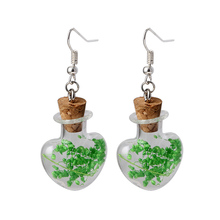 Sweet Fine Jewelry Glass Wish Bottle Drop Earrings New Design Pure Bright Color Hay Earrings For Women Jewelry Wholesale ES2039