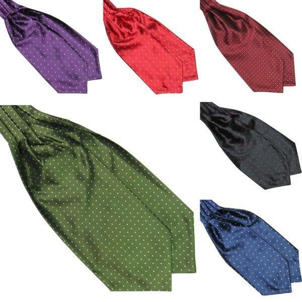 Fashion Polka Dot Men Long Silk Cravat Ascot Ties Handkerchief Gentlemen 2