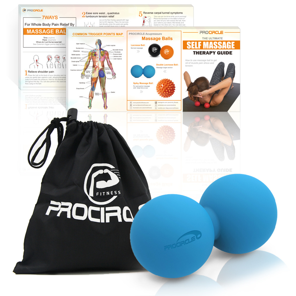 ProCircle Peanut Massage Ball Rubber Back Massage Ball Trigger Ponit Lacrosse Ball Body Massage& Fitness Exercise Balls REEE BAG epp lacrosse ball fitness peanut ball crossfit therapy gym relax exercise massage ball for yoga