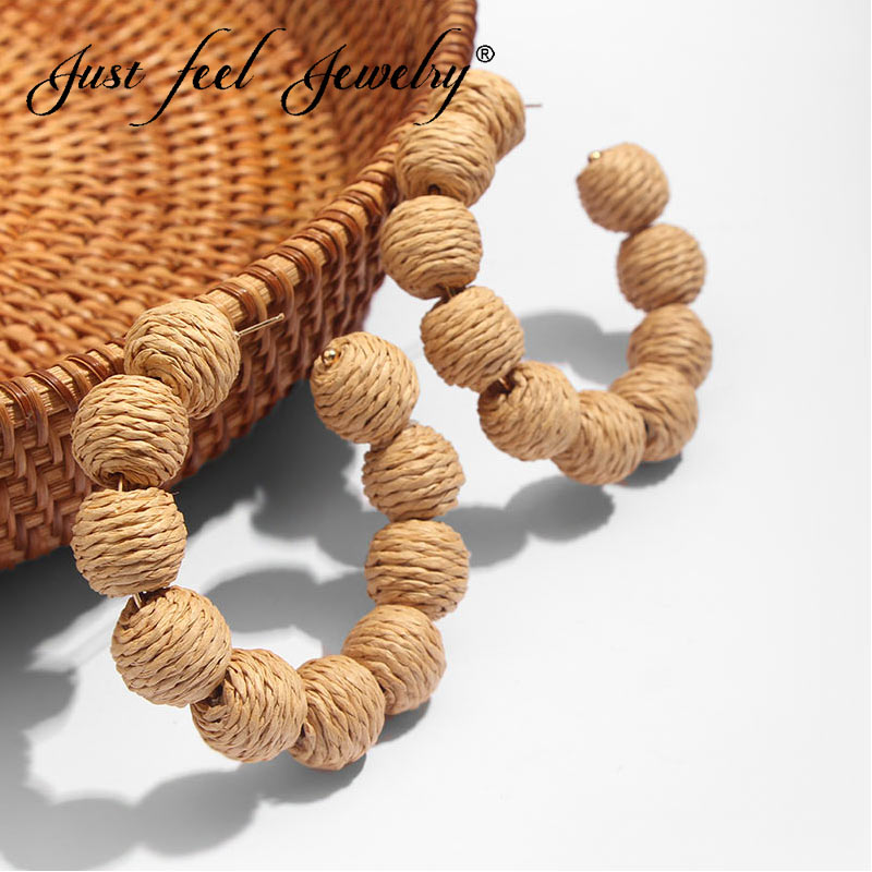 JUST FEEL 2019 Handmade New Round Rattan Weave Big Drop Earrings For Women Boho Natural Wooden Bamboo Straw Weave Vine Earrings
