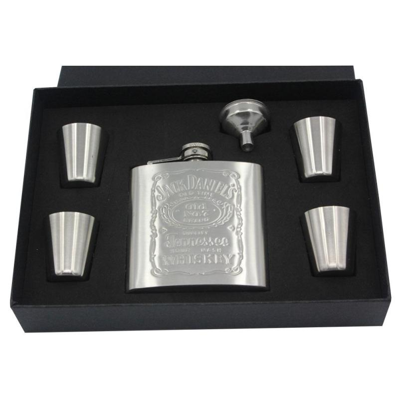 6OZ Stainless Steel Printing Hip Flask Portable Travel Alcohol Whisky Liquor Pocket Embossed Flagon Flasks Bottle Drinkware A30