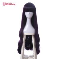 L email wig New Cardcaptor Sakura Daidouji Tomoyo Cosplay Wigs 80cm Purple Heat Resistant Synthetic Hair Perucas Cosplay Wig