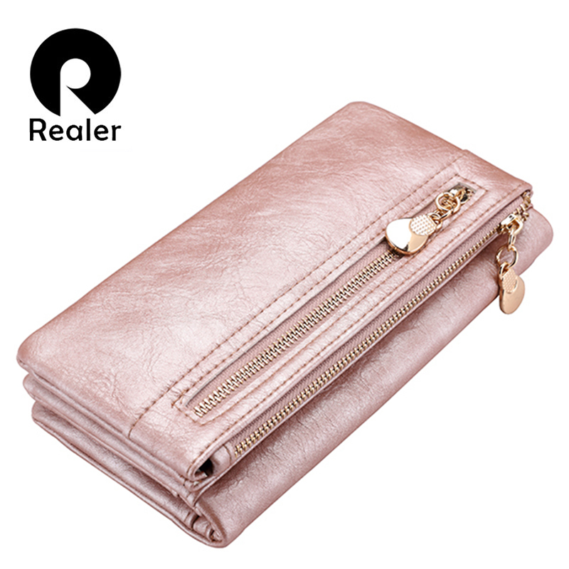REALER brand new design women wallet long high quality female clutch zipper wallets big capacity purse cellphone bag pocket 2017 men wristlet wallets pu leather zipper pocket long wallet clutch bags man purse business big capacity bag drop shipping