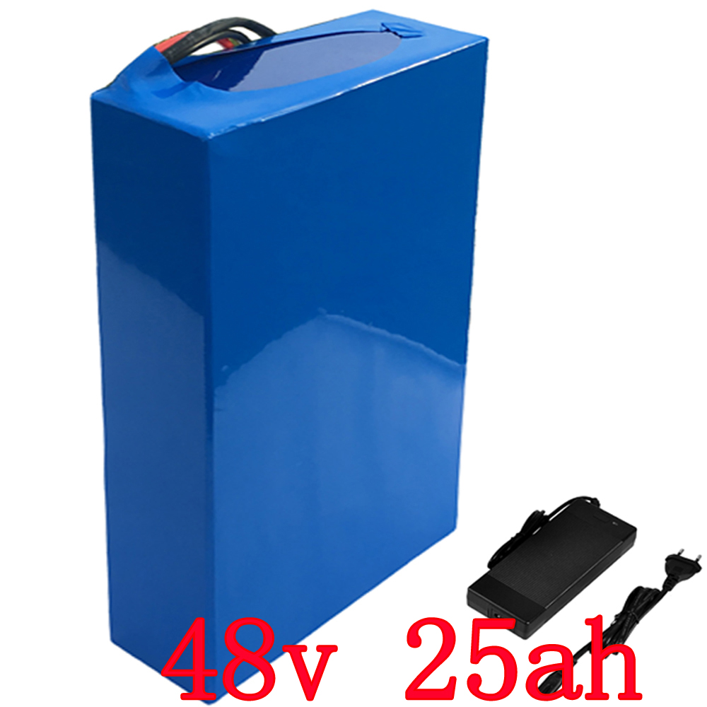 US EU no tax 48v 25Ah 2000w Lithium Battery Pack with 5A Charger Built in 50A BMS Electric Bicycle Battery 48v Free Shipping ebike battery 48v 15ah lithium ion battery pack 48v for samsung 30b cells built in 15a bms with 2a charger free shipping duty