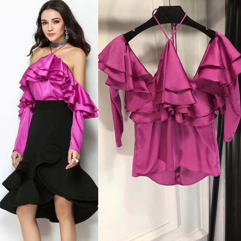 Conscientious 2018 The New Halter Strap Crop Top Sexy Bare Shoulder Design Tops Elegant And Charming Satin Top Vadim Lace Top Women Halter Top Women's Clothing