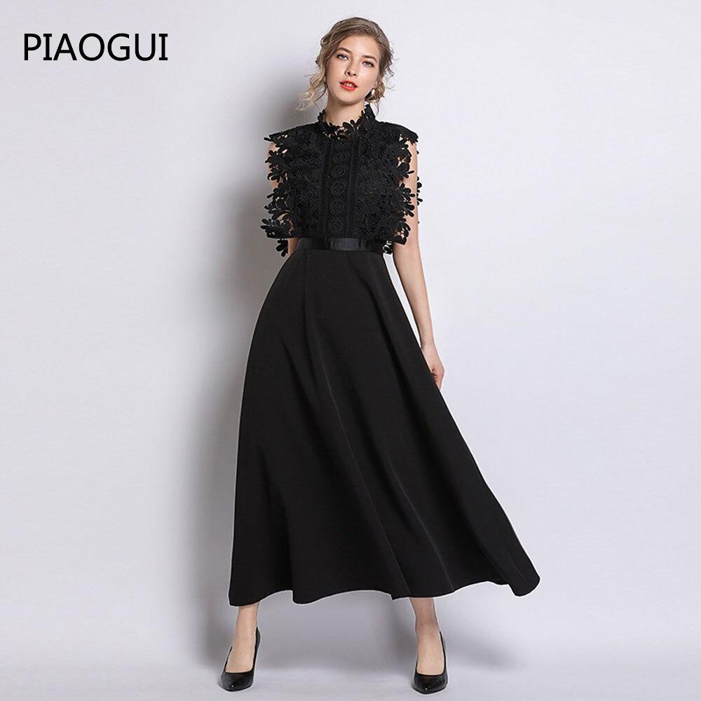 Rappezzatura Da Modo Senza Maniche 2019 Più Nuovo Delle Nero Vintage Donne  Elegante Lungo Partito Vestito Merletto Di Del ... 71cf1a6ef16