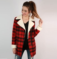 2017 London style autumn women jacket coat turn down collar zipper pockets red plaid winter jacket for women chaquetas mujer