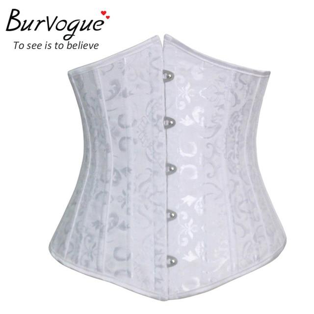 Steel bones short waist cincher corset sexy white underbust corsets steel woman white dobby corset New