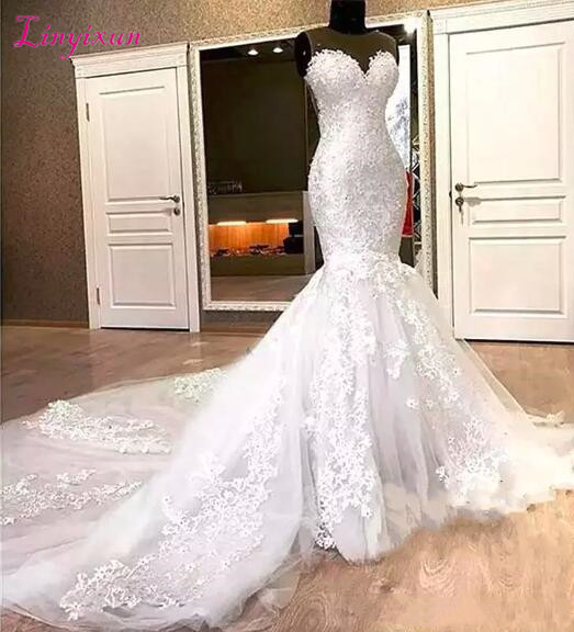 Gorgeous Mermaid Lace Wedding Dresses Appliques Beads Long Chapel Train Sheer Neck <font><b>2018</b></font> <font><b>Bridal</b></font> Dress For Women Vestido De Noiva image