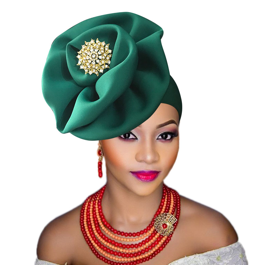 auto gele cap for women party african headtie nigeria turban headband already tied african head wraps (10)