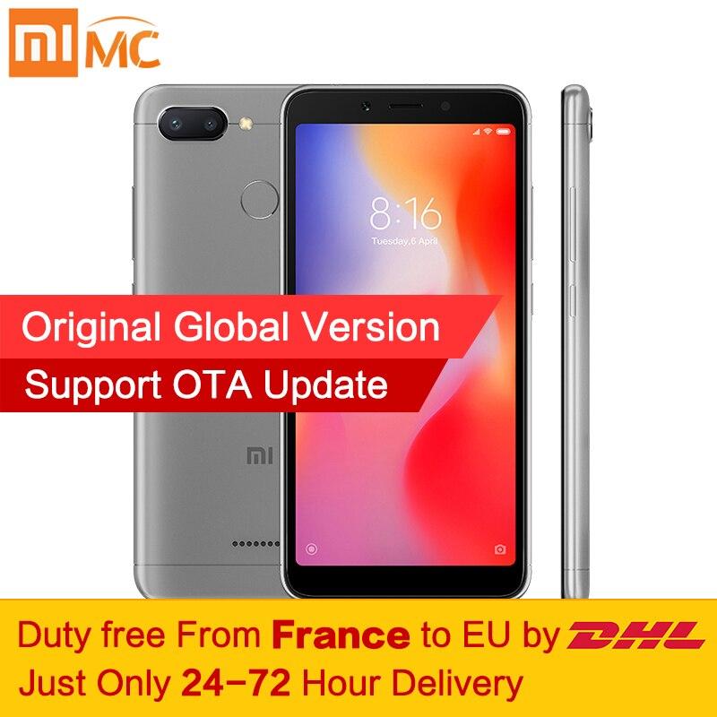 Livre de impostos! Global Versão Xiaomi Redmi 6 4 gb 64 gb Helio P22 Smartphones MTK Octa Núcleo 5.45 Tela Cheia 12MP + 5MP AI Câmera Dupla CE