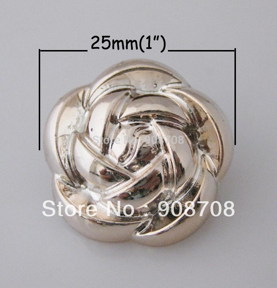 Free shipping Rose Golden Rose Flower Buttons 25mm 20pcs Shank ABS/Plastic Buttons H075