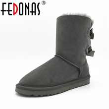 FEDONAS Women Boots Fashion 100% Sheepskin Mid-calf Snow Boots Warm Winter Bowknot Sheep Fur Boots Flats Genuine Leather Shoes
