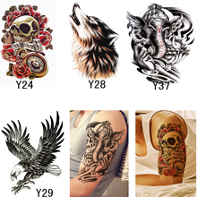 4Pcs Skull Wolf Eagel Sticker For Body Transferable Tattoos Waterproof Temporary Tattoos Sticker Fake Tattoo Makeup Tool