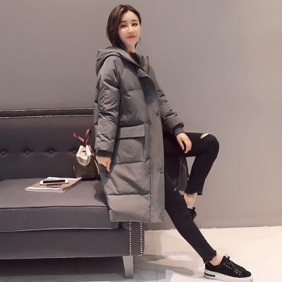 Женское зимнее пальто средней длины, однотонная свободная Толстая теплая куртка с капюшоном, пуховик с хлопковой подкладкой, верхняя одежда, парки H448 - Цвет: 2