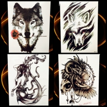Wolf Design Temporary Tattoo Stickers Men Large Body Art Flash Tattoo Paste Women 21x15CM Wolves Totem Waterproof Tatoo Decals
