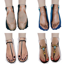 Fashion Foot Print 3D Socks Women Kawaii Ankle Femme Girls Cotton Casual Cute Fu