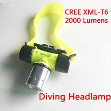 New Waterproof XM L T6 2000lm font b LED b font Underwater 20m Diving Headlamp Headlight