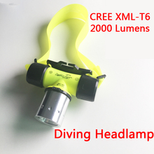 New Waterproof XM-L T6 2000lm LED Underwater 20m Diving Headlamp Headlight Dive Flashlight Head Light Lamp Torch