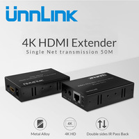 Unnlink UHD 4K@30HZ 50M HDMI Ethernet Extender Extension Via LAN CAT 6 RJ45 Network Cable with IR for LED tv mi box projector